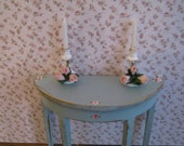 Candlesticks, two, shabby chic accessory, hand finished, twelfth scale dollhouse accessory
