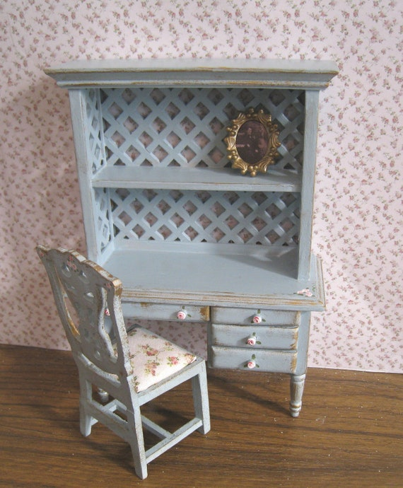 French duck egg blue Ladies bookshelf desk with chair, with rose bouquets,  Twelfth scale dollhouse miniature