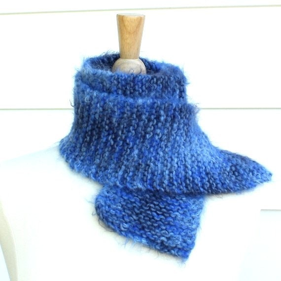 Hand knit scarf - Warm winter scarf knitted in a super soft wool blend blue yarn