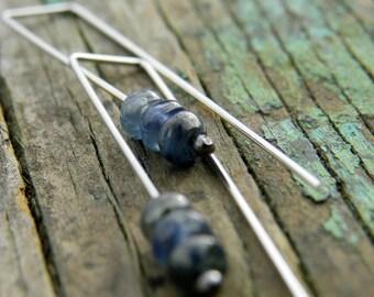 Kyanite Rondelles on Sterling Silver Top Hook Earrings