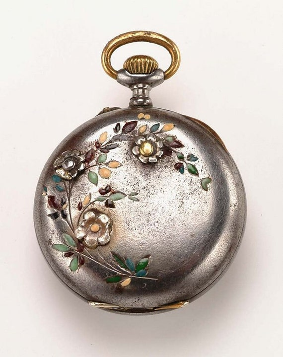 19thc. Lady's Pocket Watch:  Gunmetal, Enamel