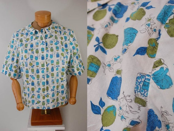 Vintage Canning Theme Women's Handmade Short Sleeve Blouse 1950s