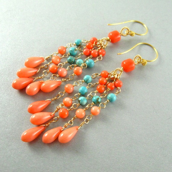 Coral and Turquoise Wire Wrapped Dangle Earrings