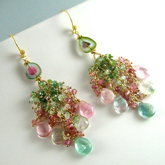 Reserved- Afghani Tourmaline Cluster Earrings