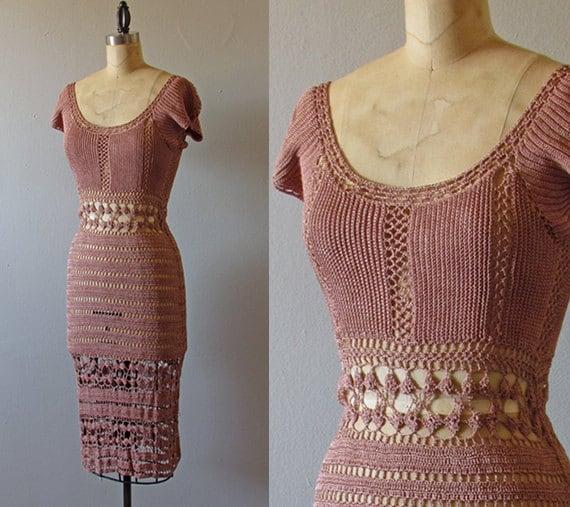 1970s crochet dress -bohemian mauve net crochet lace summer dress small medium