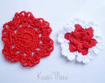 Crochet Applique Motif Flowers Set of 2 Red
