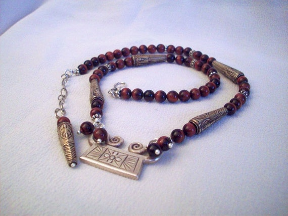 Oxblood with Red Tigereye - Spirit Lock with Hill Tribe Silver Pendant - Necklace