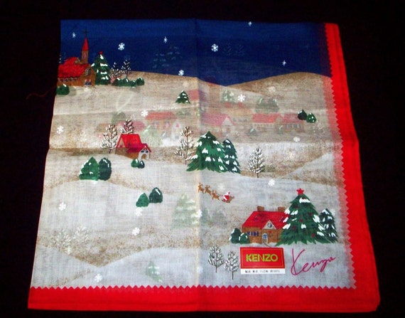 CHRISTMAS  - Vintage Pure Cotton  Neckerchief -  45 cm square