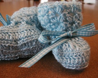 Crochet Blue Baby Booties with Plad Ribbon
