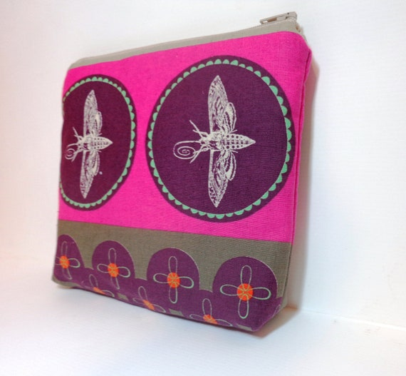 Medium  Zipper Pouch - Dragonfly in Pink and Purple
