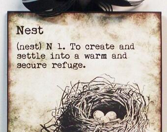Definition of Nest Bird nest Custom Wooden Wall Plaque