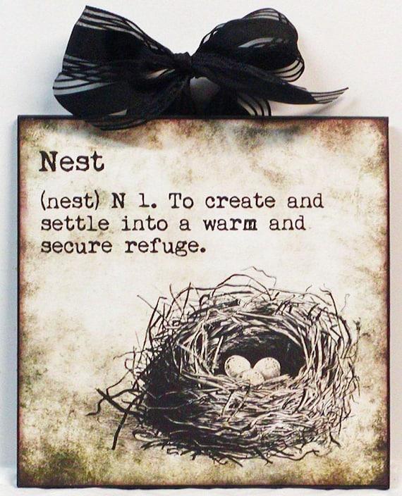 Definition of nest bird nest custom wooden wall plaque - Plaque de finition ...