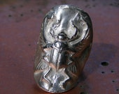 Reserve  Ring       Scarab God  Egyptan  Ring  Silver Bronze