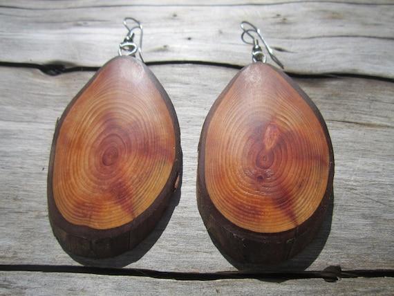 Cedar Wood Earrings- Wooden Earrings in Cedar- Wood Jewelry