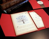 Vintage Book Winter Wedding Invitation Set, Snow and Tree Vintage Wedding Invitations, Rustic Wedding Invitation Red Birds Blue WeddingTree