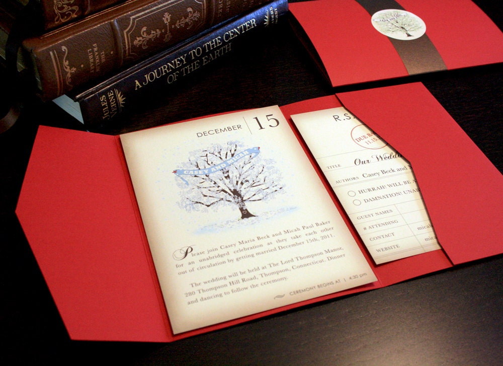 Winter Wedding Invitation Wording: Vintage Book Winter Wedding Invitation Set Snow And Tree