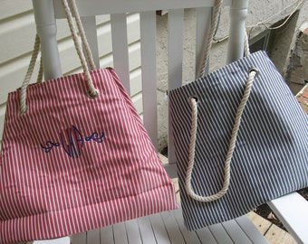CLEARANCE - Personalized Nautical tote with rope handle