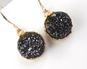 Black Druzy Earrings Dangle Earrings Gold Fancy Bezel Set Black Earrings Luxury Spring 2013 Fashion