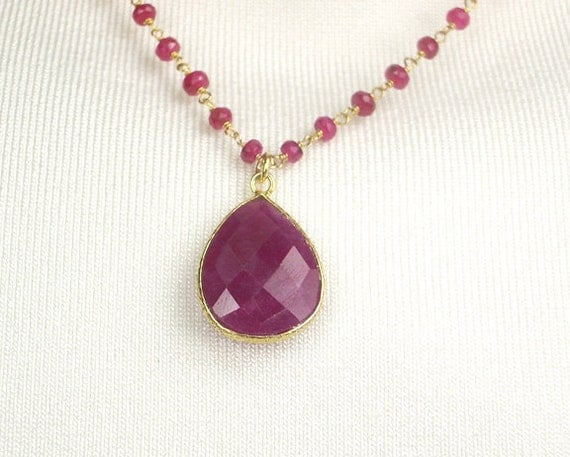 Ruby Necklace Wire Wrapped Gemstone 14kt Gold Filled Ruby Bezel Set Necklace July Birthstone Luxury Fashion
