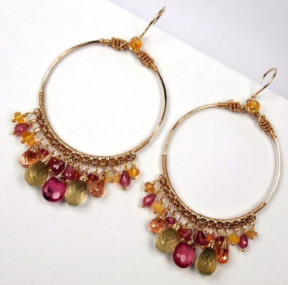 Pink Sapphire Large Gold Hoop Earrings Wire Wrapped Hammered 14kt Gold Fill Multicolor Gemstone Chandelier Earrings Statement  Luxury