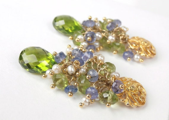 Peridot Cluster Post Earrings 14k Gold Fill Pearl Tanzanite Wire Wrapped Cluster Earrings August Birthstone Luxury Fashion