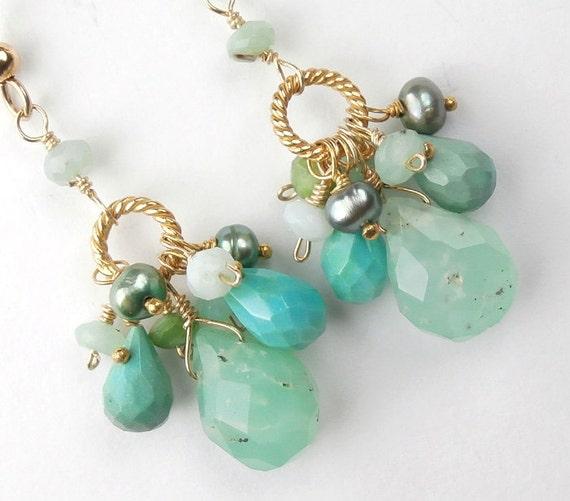 Mint Green Peruvian Opal Earrings Dangle Earrings Sea Foam 14kt  Gold Fill Wire Wrap Turquoise Earrings - Lois