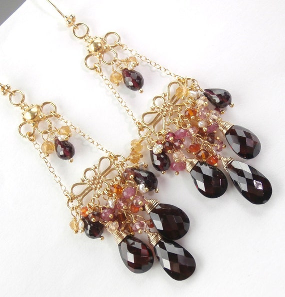RESERVED for S - Red Garnet Chandelier Earrings 14k Gold Fill Wire Wrapped Cluster Multicolor Gemstones- Layaway Payment 3