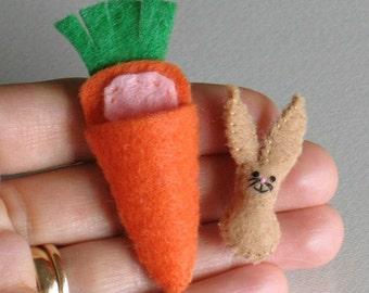 Bunny Rabbit brown felt plush miniature in  carrot bed play set