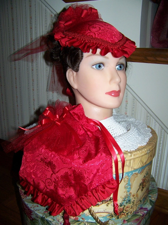 Civil War Hat and Reticule,Victorian Ladies Red Brocade teardrop satin with red Satin ruffle costume