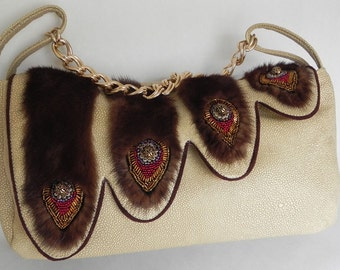 Leather and mink purse by Opulent Handbags