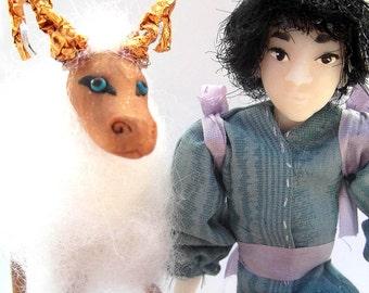 A Girl and Her Ram- OOAK Original Artist Dolls