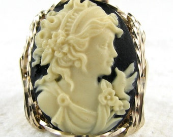 Grecian Goddess Dove Cameo Ring 14K Rolled Gold Custom Jewelry