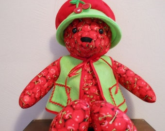 Teddy Bear Handmade in Cherry Print with Bright Green Vest and Floppy Hat, Stuffed Animal, Home Decor, Stuffed Bear