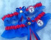 Handmade wedding garters keepsake and toss Wedding garters set Texas RANGERS bridal set red/blue