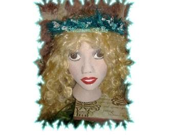 Faerie Head wreath dance Handmade Blue Ice Fairy CLEARANCE