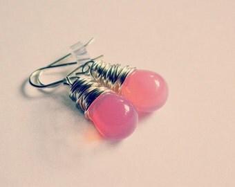 Pink Earrings, Teardrop Earrings, Jewelry Earrings, Earrings for Girl, Soft Pink, Pastel Earrings, Sterling Silver Earrings, Summer Jewelry