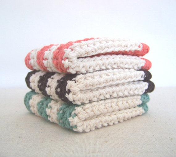 Cotton Dish Cloths- Lichen Green, Espresso Brown, Salmon Pink Stripes - Crocheted 3 Piece Set