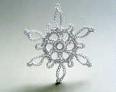 6 Crochet Snowflake Ornaments -- Medium Snowflake B3, in White