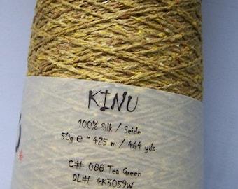 Silk lace yarn, KINU tea green pure silk from ITO yarns 50g