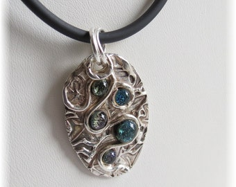 Fine Silver Dichroic Glass Necklace / PMC Pendant with Dichroic Glass