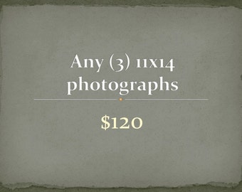 Photography - Any Three Travel, Nature, Black and White 11x14 Photographs, buy more save more, discounted print set
