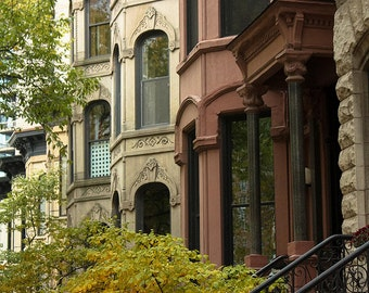 Chicago photography, Chicago Apartments in the Autumn, Walkup, brownstone apartments,  Fine Art Photograph, etsy wall art, chicago art