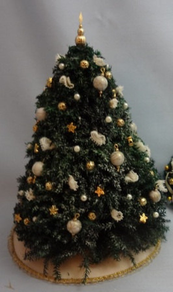 Handmade Flocked Pine Christmas Tree with Ivory and Gold Trims- 24