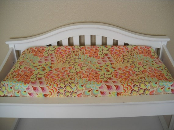 Ready to Ship - Changing Pad Cover - Amy Butler - Peacock Feathers Blush - Soul Blossom Collection by Cottage Belles