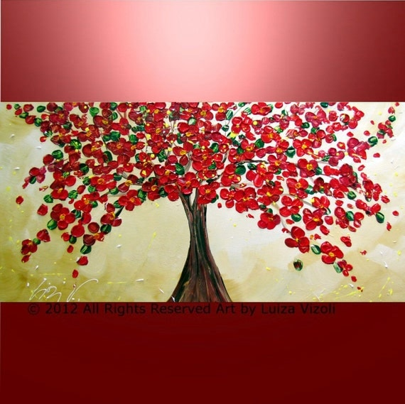 ORIGINAL Abstract Large Textured Oil Painting Red Blossom Tree Hand Painted Art on canvas by Luiza Vizoli