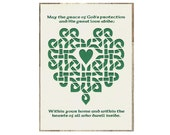 May Grace of God's Protection Blessing Celtic Knot Heart Paper Cut 5X7 green