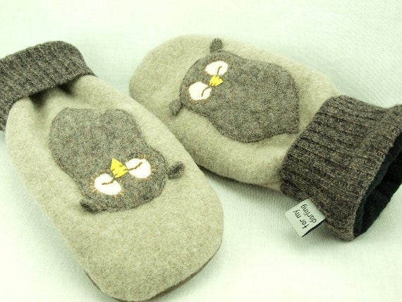 Felted Wool Mittens Owl Sweater Mittens Beige Brown Natural White Owl Applique Fleece Lining Leather Palm Eco Friendly Upcycled Size M-ML