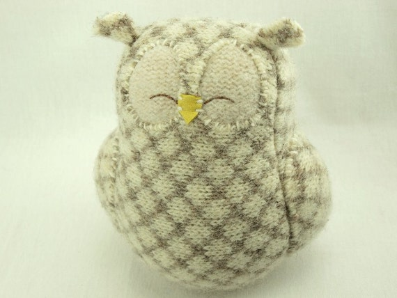 Owl Felt Wool Recycled Home Decor Owl with Lamb Wool Stuffing Plaid Natural White and Beige RESERVED FOR LISA