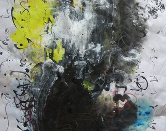 37X17 black painting abstract, ink painting, abstract black yellow, grey black yellow, abstract landscape on rice paper skim art