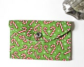 Holiday gift card holder - mini fabric wallet - Green and red candy canes